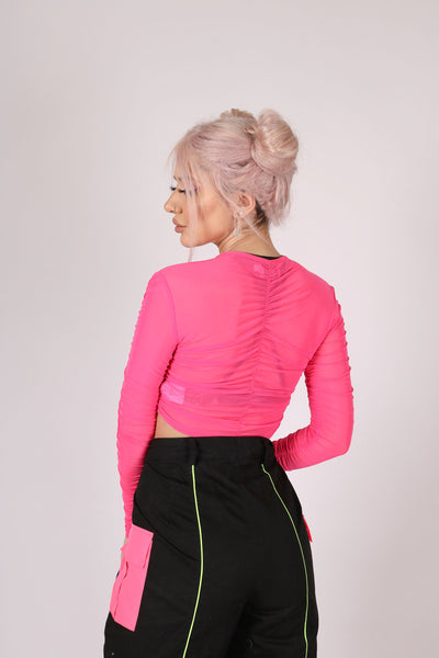 For Your Daytime Thing 'Long Sleeve Top With Ruching In Neon Mesh'
