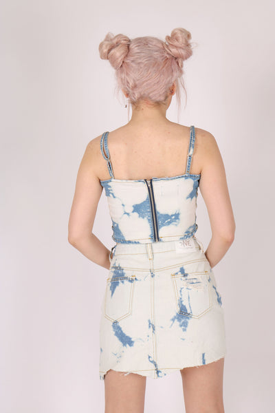 Don't Just Pile On The Chair 'Crop Top With Cut Out Sides In Acid Wash Denim'