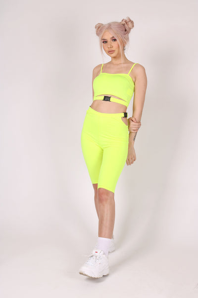 Yeah, We Thought So 'Ultra Crop Top With Buckle In Neon'
