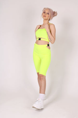 Yeah, We Thought So 'Neon Yellow Biker Shorts With Buckle'