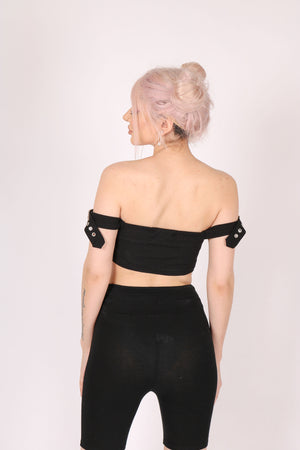 A Little Extra 'Crop Top With Buckle Sleeves In Rib'