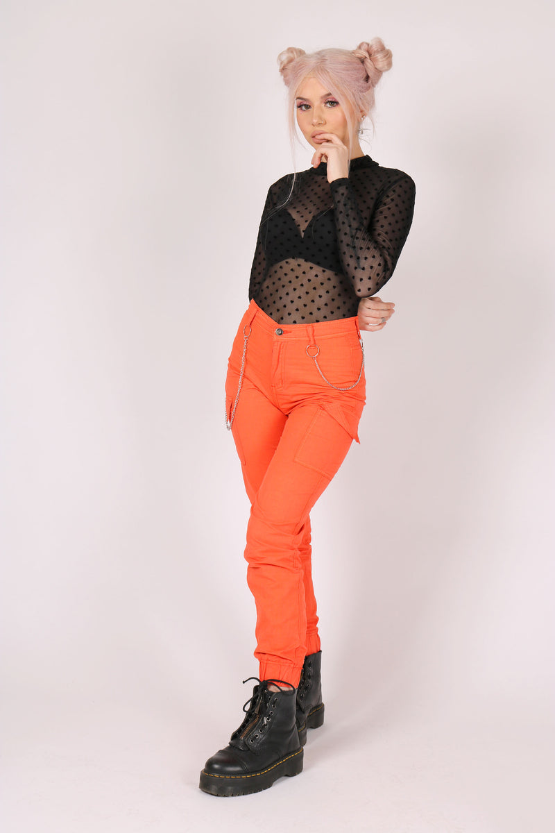 Yeah, We Like These, Too 'Orange Cargo Trousers With Chains'