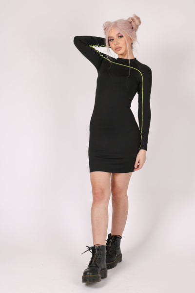 Add-To-Bag Potential: Considerable 'High Neck Bodycon Dress With Neon Piping'