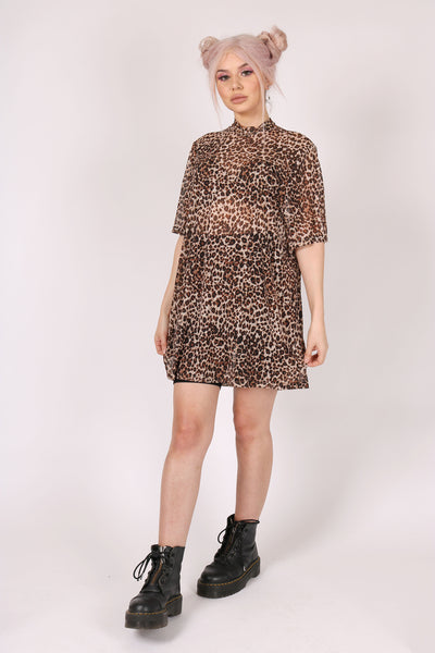 For Your Daytime Thing 'Leopard Oversized Mesh Dress'