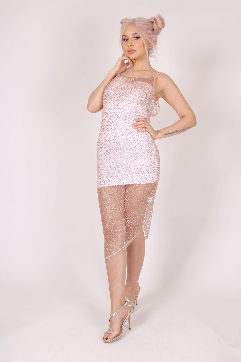 Wear Me Out 'Asymmetric Cowl Neck Cami Dress In Glitter Fabric'