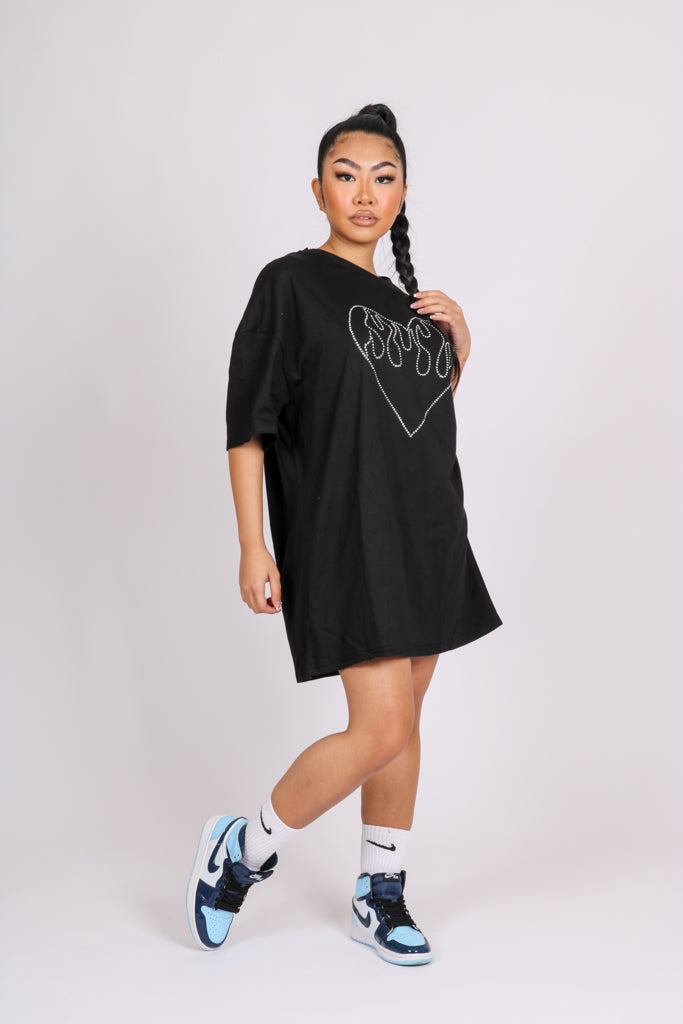 With Love 'Oversized T-Shirt Dress With Diamanté Heart'