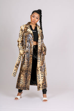 Must Add To Cart 'PU Tiger Longline Trench Jacket'