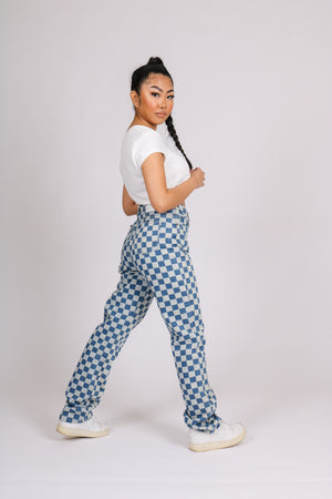 The Wait Is Over 'Denim Wide Leg Checkered Jean'