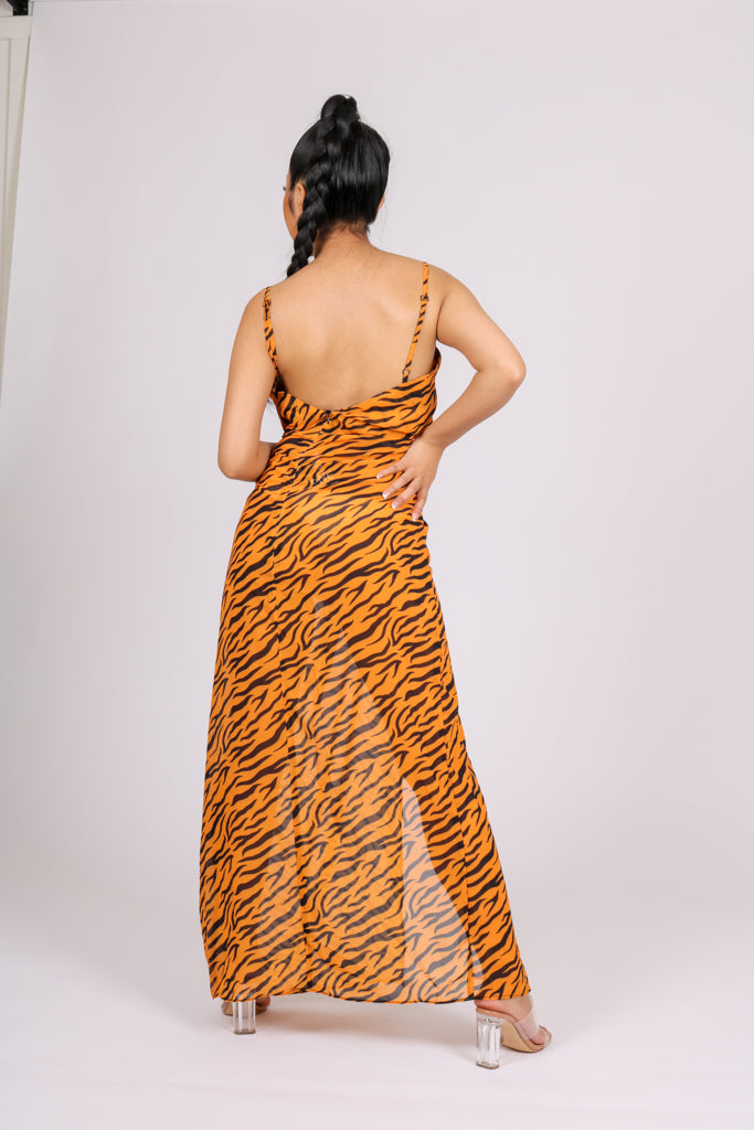 Day Time Or Night Time 'Mesh Tiger Maxi Slit Dress'