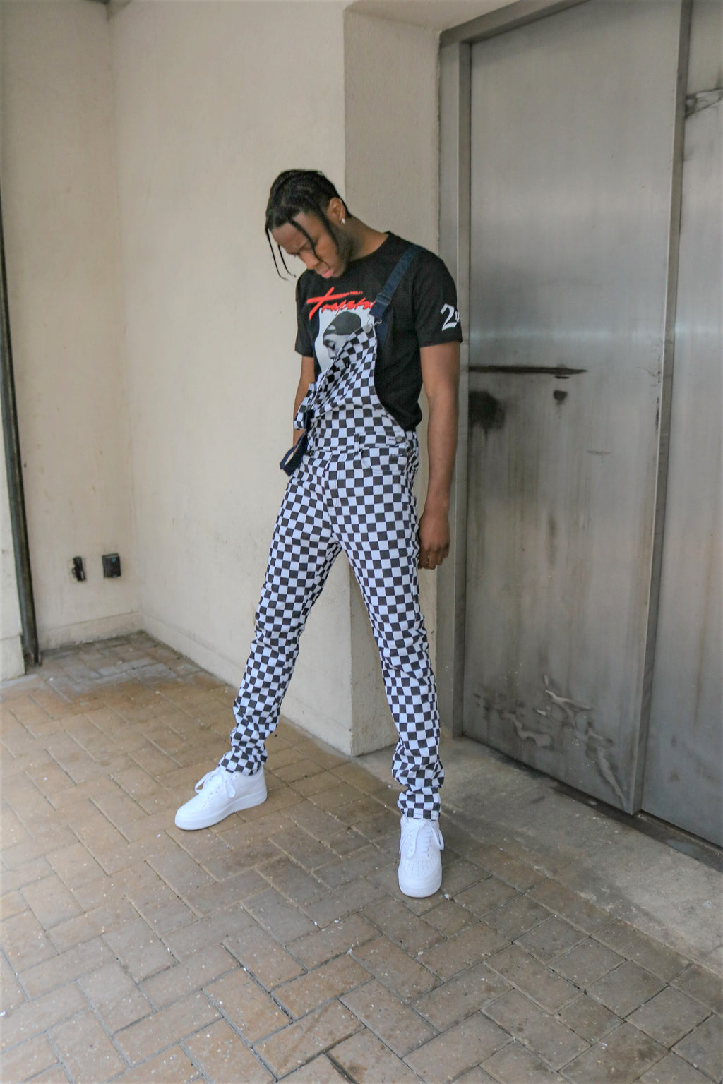 Steezy relaxed denim dungaree in checkerboard print