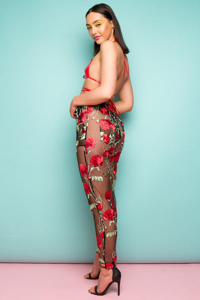 This One's A Little More Fancy 'High Waist Mom Fit Trousers In Embroidered Rose Mesh'