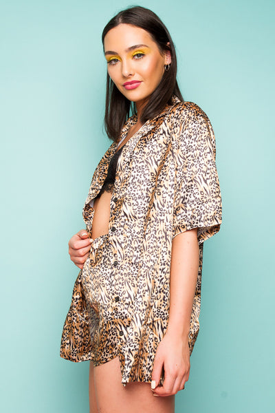 Like What You See, Do Ya? 'Button Through Shirt In Tiger Co-Ord'