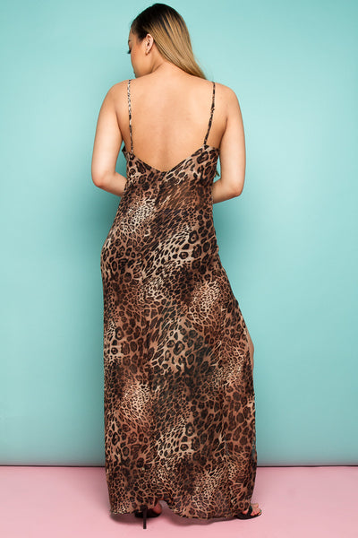 Your In Control '90's Cami Maxi Dress In Sheer Leopard'