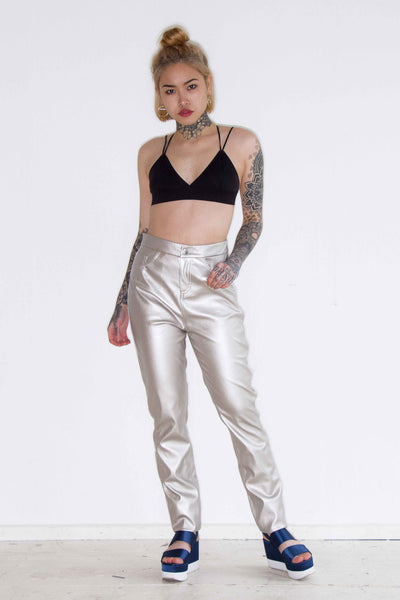 One Above Another - Metallic Silver PU Trousers