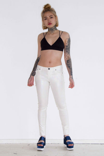 One Above Another - Pearlescent PU Skinny jeans