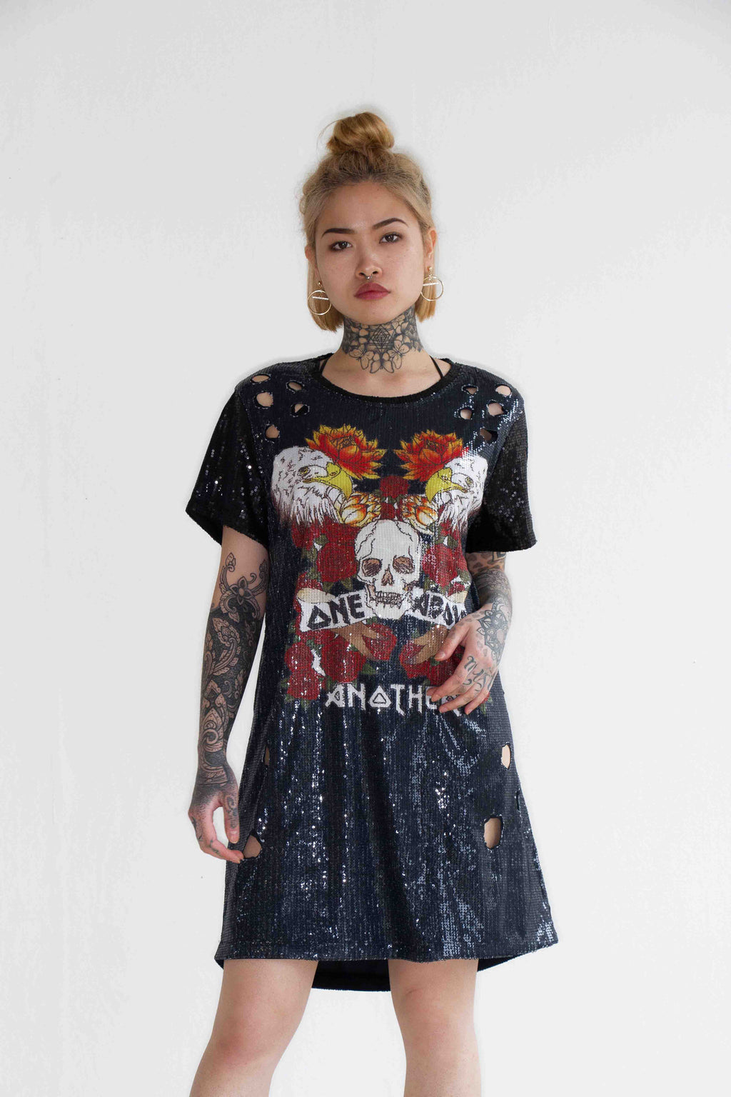 Oversized Rose & Eagle Printed Sequin Dress