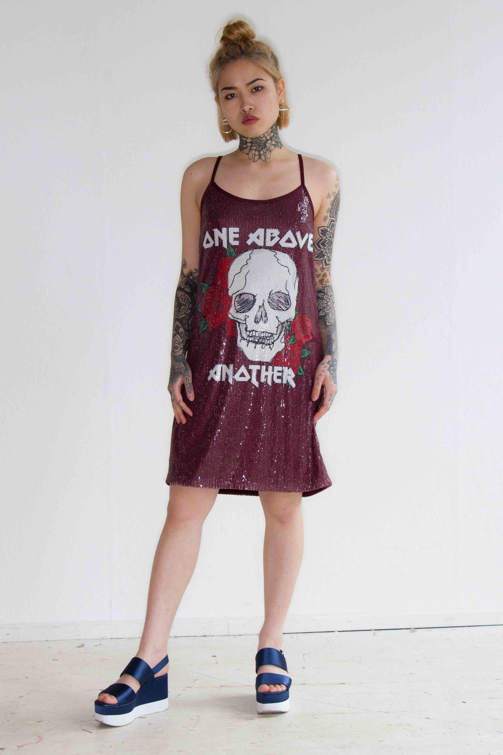 Roses And Skull Oversized Printed Sequin Cami Dress
