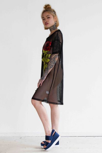 One Above Another - Oversized mesh t shirt dress with rose sequin patches