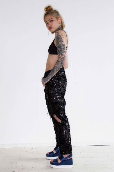 Bitchin Boyfriend Jeans With All Over Embellished Black Sequin