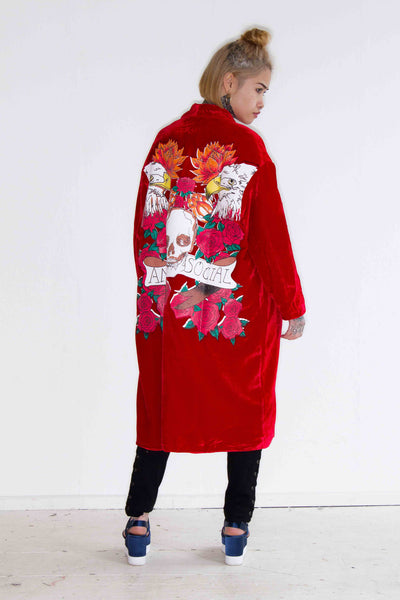 One Above Another - Flame red velvet kimono with printed rose of death