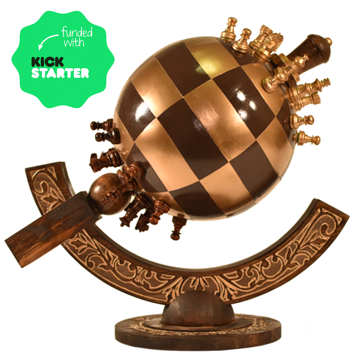 Globe Chess Sphere Chess spherical 3d chess playing board wood carved steel kickstarter