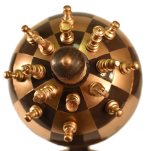 Globe Chess Sphere Chess spherical 3d chess playing board wood carved steel  top kickstarter