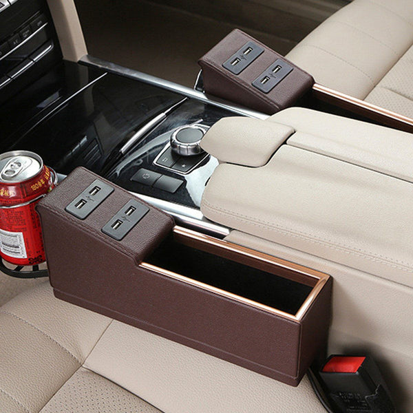 Leather Car Organizer Seat (**With 4 USB Charger Ports**) Console Gap Filler Side with Cup Holder - HIPSTERR