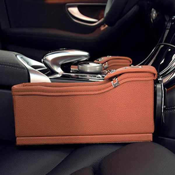 Leather Car Seat Organizer with Coin Organizer and Cup Holder - HIPSTERR