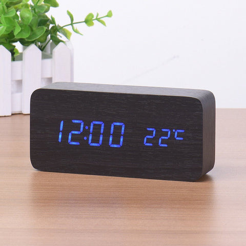 Modern LED Wooden Alarm Clock with Thermometer & Voice Control - HIPSTERR