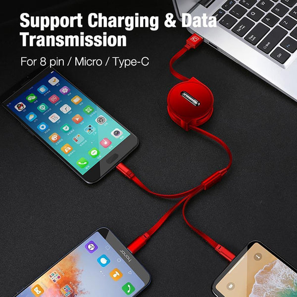 Retractable 3 In 1 Fast Charging USB Cable with Multi Connectors