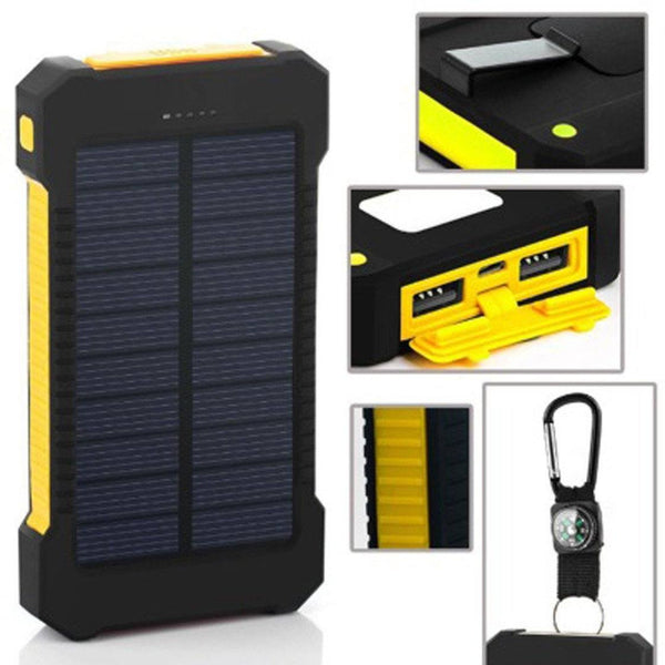 Solar Power Bank 20000mAh Dual USB Solar Panel Charger with LED Light & Compass for Emergency Outdoor Camping Travel - HIPSTERR