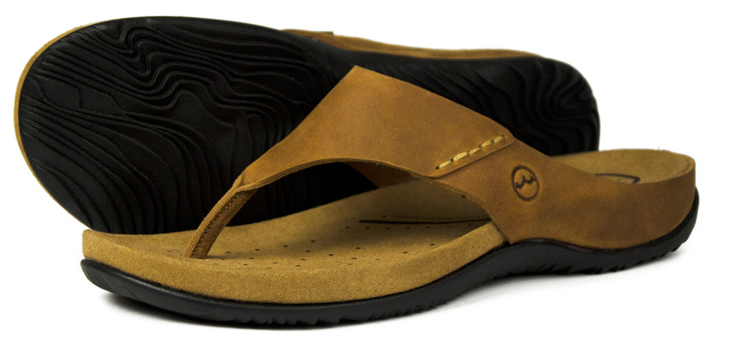Orca Bay Bora Mens Nubuck Leather Sandal Flip Flop Shoes Sand
