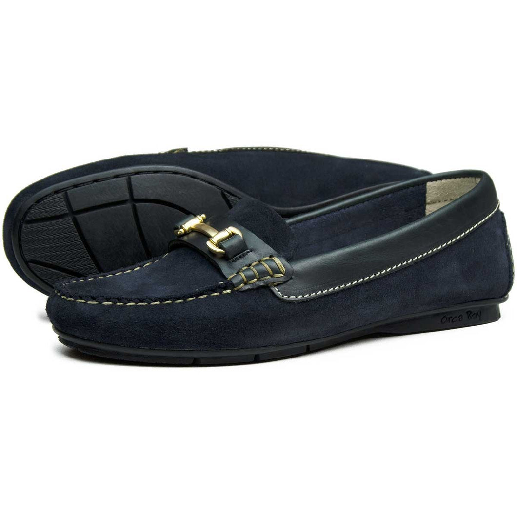 Orca Bay Cheltenham Ladies Suede Loafer Shoes Navy