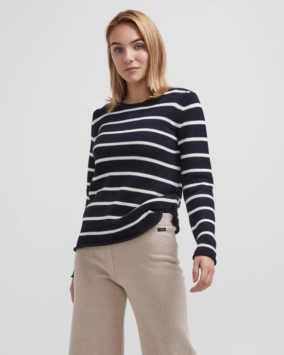 Holebrook Sweden Astrid Crew Neck Jumper Navy Off White