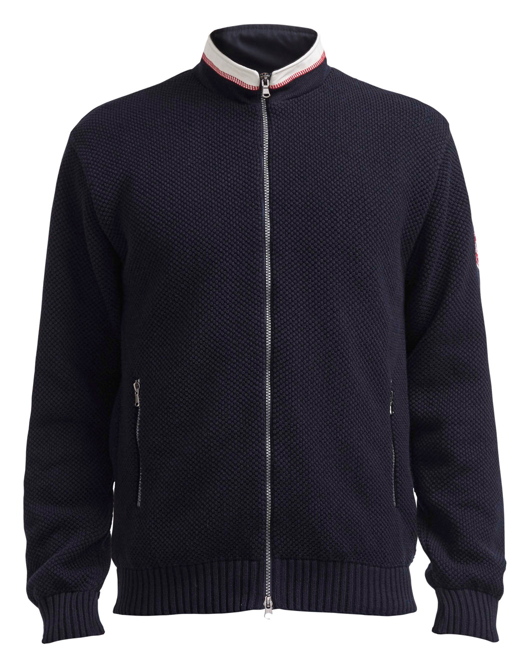Holebrook Sweden Axel T-Neck Full-zip Windproof Sweater Navy