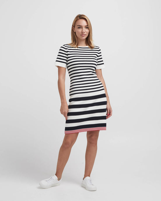 Holebrook Sweden Marion Ladies Striped Cotton Dress off white navy front