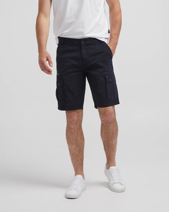 Holebrook Sweden Tobbe Mens Cotton Cargo Shorts Navy front front