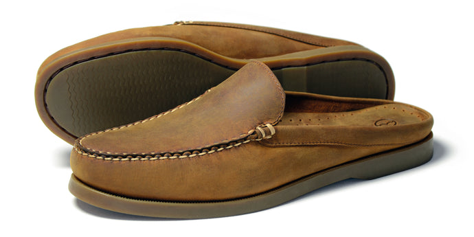 Orca Bay Mules Mens Nubuck Leather Slip on Shoes Sand