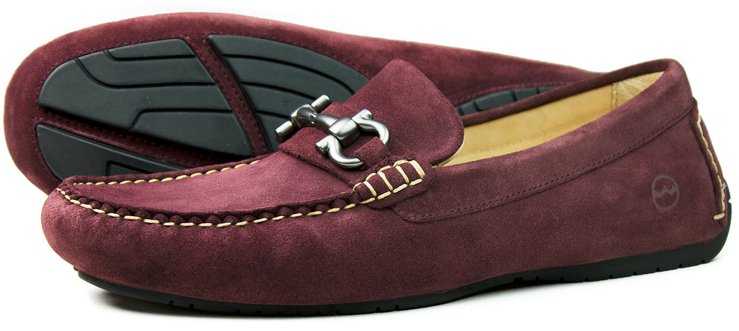 Orca Bay Roma Mens Suede Loafer Shoes Burgundy