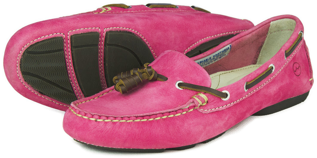 Orca Bay Yarrawonga Ladies Machine Washable Nubuck Leather Deck Shoes Magenta