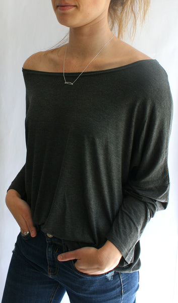 Ellipsis - The Charcoal Boatneck Top