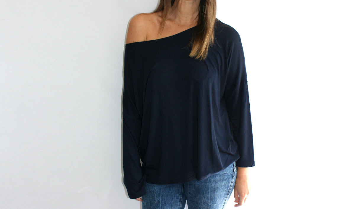 Ellipsis - The Navy Boatneck Top