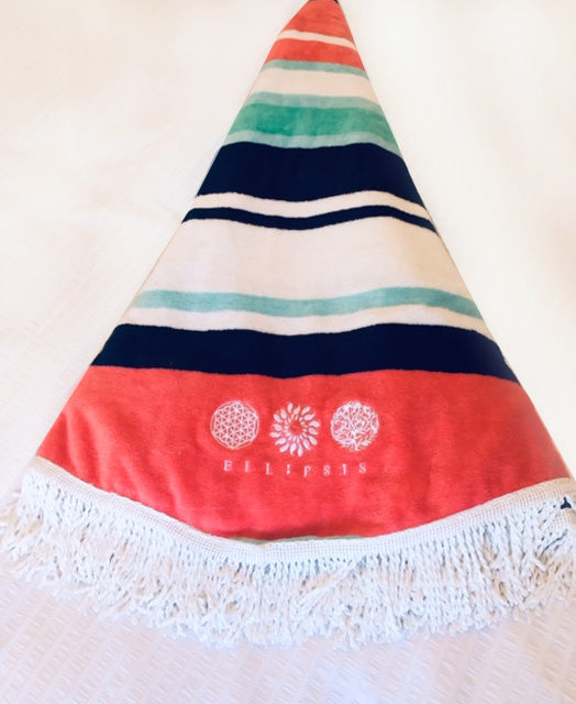 Ellipsis - Striped Round Summer Beach Towel