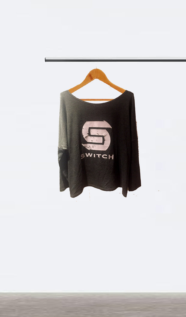 Ellipsis - Switch Ladies Charcoal Boatneck Top