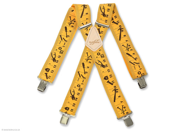 yellow tape measure trouser braces