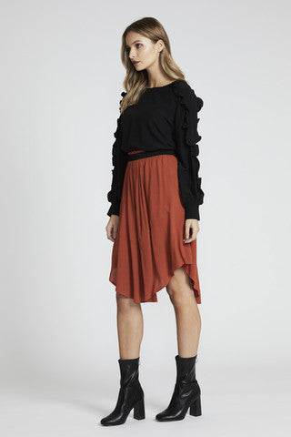 Rust mid length skirt