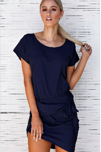 Gabriella Tie T-Shirt Dress - Navy