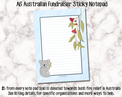 Australia Bush Fire Fundraiser Sticky Notepad - A6 size with 50 sheets per pad - Pre order