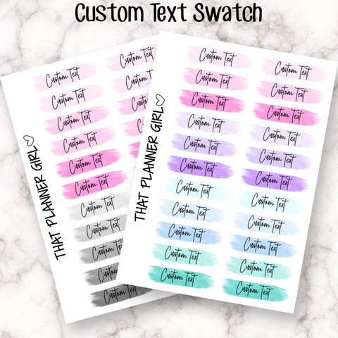 Custom Script Swatch Stickers