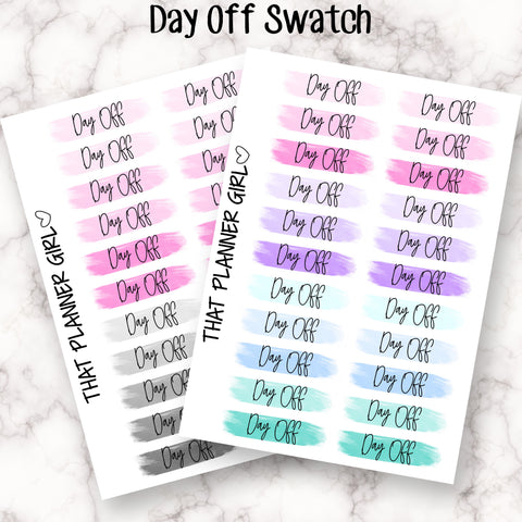 Script Swatch Stickers - DAY OFF